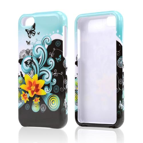 Yellow Lilly & Swirls on Turquoise/Black Hard Case for Apple iPhone 5C