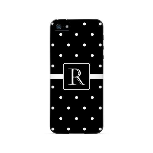 R on Classic Mini Polka Dots - Geeks Designer Line Monogram Series Hard Case for Apple iPhone 5/5S