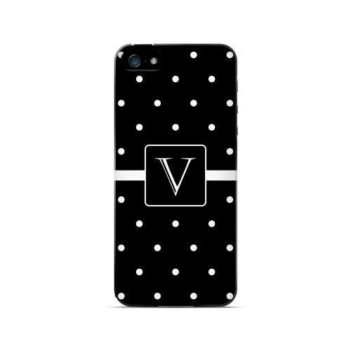 V on Classic Mini Polka Dots - Geeks Designer Line Monogram Series Hard Case for Apple iPhone 5/5S