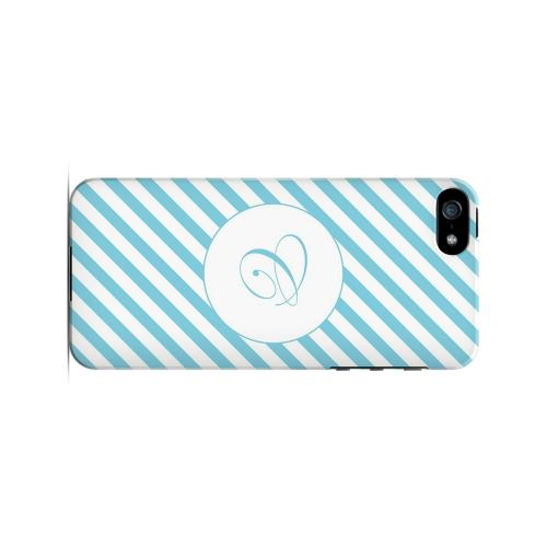 Calligraphy C on Mint Slanted Stripes - Geeks Designer Line Monogram Series Hard Case for Apple iPhone 5/5S