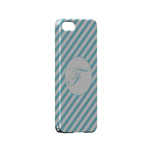 Calligraphy F on Mint Slanted Stripes - Geeks Designer Line Monogram Series Hard Case for Apple iPhone 5/5S