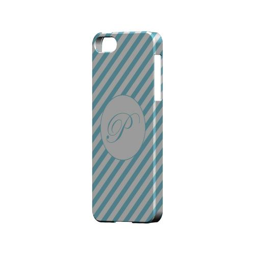 Calligraphy P on Mint Slanted Stripes - Geeks Designer Line Monogram Series Hard Case for Apple iPhone 5/5S