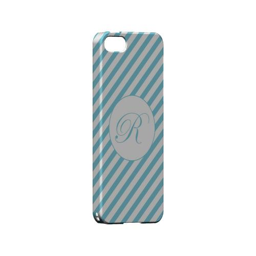 Calligraphy R on Mint Slanted Stripes - Geeks Designer Line Monogram Series Hard Case for Apple iPhone 5/5S