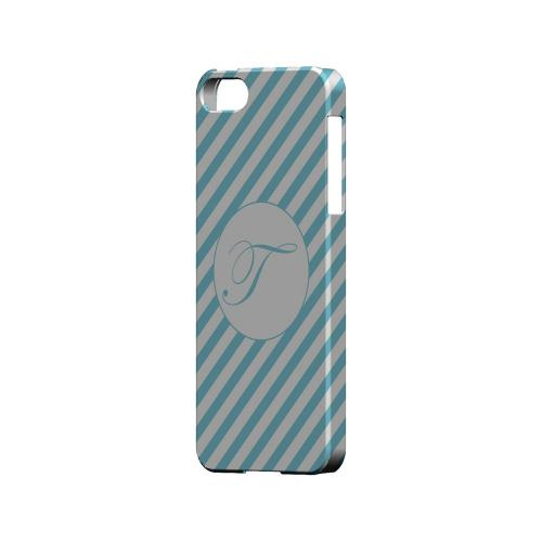 Calligraphy T on Mint Slanted Stripes - Geeks Designer Line Monogram Series Hard Case for Apple iPhone 5/5S
