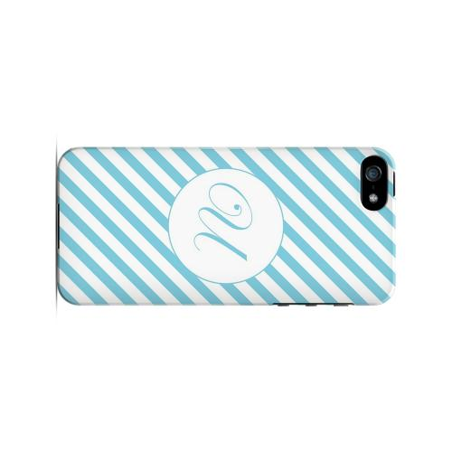 Calligraphy U on Mint Slanted Stripes - Geeks Designer Line Monogram Series Hard Case for Apple iPhone 5/5S