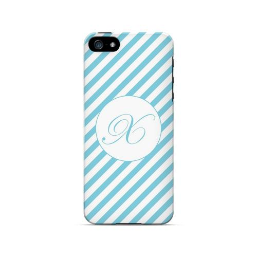 Calligraphy X on Mint Slanted Stripes - Geeks Designer Line Monogram Series Hard Case for Apple iPhone 5/5S