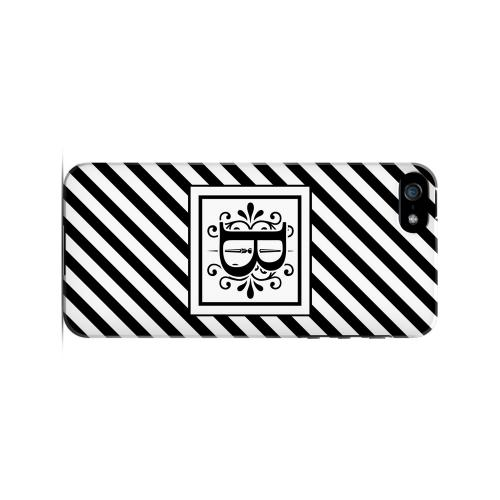 Vintage Vine B On Black Slanted Stripes - Geeks Designer Line Monogram Series Hard Case for Apple iPhone 5/5S