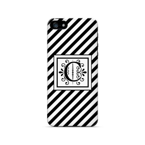 Vintage Vine C On Black Slanted Stripes - Geeks Designer Line Monogram Series Hard Case for Apple iPhone 5/5S