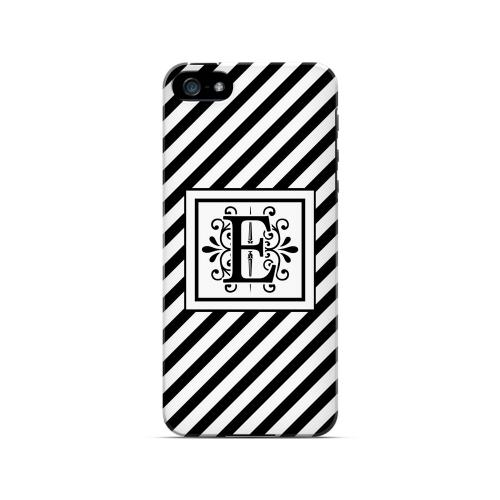 Vintage Vine E On Black Slanted Stripes - Geeks Designer Line Monogram Series Hard Case for Apple iPhone 5/5S