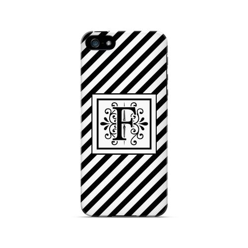 Vintage Vine F On Black Slanted Stripes - Geeks Designer Line Monogram Series Hard Case for Apple iPhone 5/5S