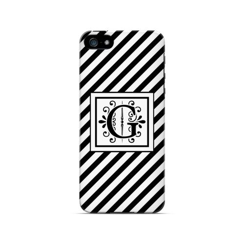 Vintage Vine G On Black Slanted Stripes - Geeks Designer Line Monogram Series Hard Case for Apple iPhone 5/5S