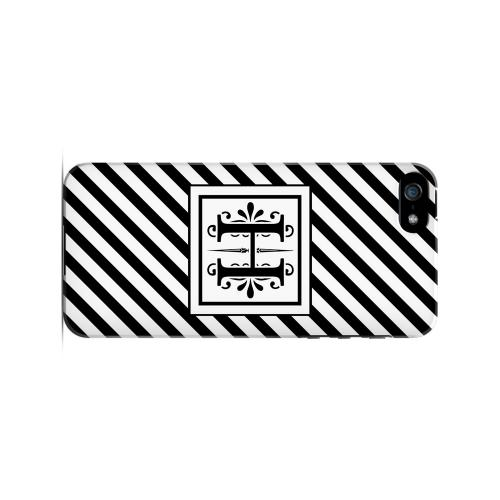 Vintage Vine H On Black Slanted Stripes - Geeks Designer Line Monogram Series Hard Case for Apple iPhone 5/5S
