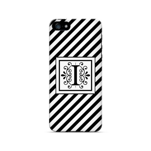 Vintage Vine I On Black Slanted Stripes - Geeks Designer Line Monogram Series Hard Case for Apple iPhone 5/5S