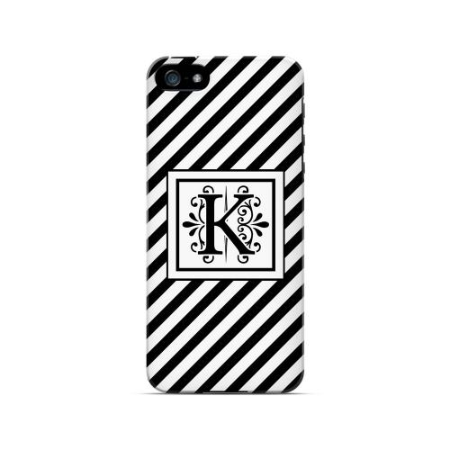 Vintage Vine K On Black Slanted Stripes - Geeks Designer Line Monogram Series Hard Case for Apple iPhone 5/5S