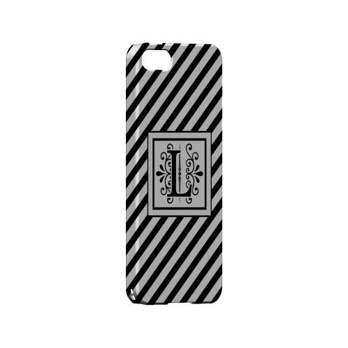 Vintage Vine L On Black Slanted Stripes - Geeks Designer Line Monogram Series Hard Case for Apple iPhone 5/5S