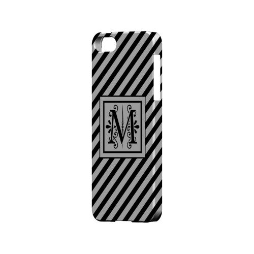 Vintage Vine M On Black Slanted Stripes - Geeks Designer Line Monogram Series Hard Case for Apple iPhone 5/5S