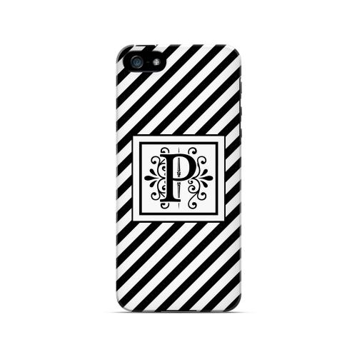 Vintage Vine P On Black Slanted Stripes - Geeks Designer Line Monogram Series Hard Case for Apple iPhone 5/5S