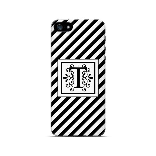 Vintage Vine T On Black Slanted Stripes - Geeks Designer Line Monogram Series Hard Case for Apple iPhone 5/5S