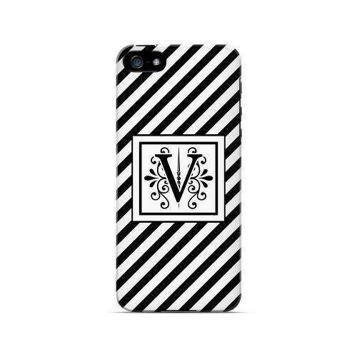 Vintage Vine V On Black Slanted Stripes - Geeks Designer Line Monogram Series Hard Case for Apple iPhone 5/5S