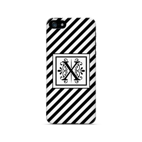 Vintage Vine X On Black Slanted Stripes - Geeks Designer Line Monogram Series Hard Case for Apple iPhone 5/5S