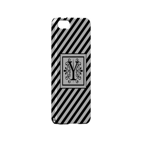 Vintage Vine Y On Black Slanted Stripes - Geeks Designer Line Monogram Series Hard Case for Apple iPhone 5/5S