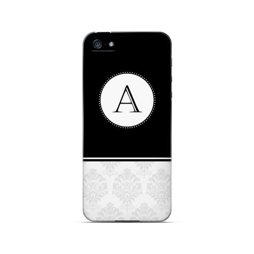 Black A w/ White Damask Design - Geeks Designer Line Monogram Series Hard Case for Apple iPhone 5/5S