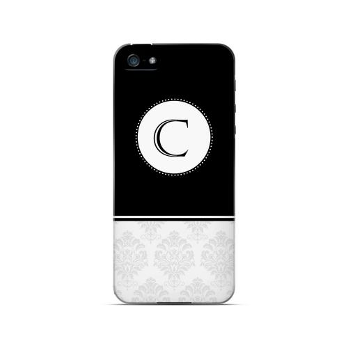 Black C w/ White Damask Design - Geeks Designer Line Monogram Series Hard Case for Apple iPhone 5/5S