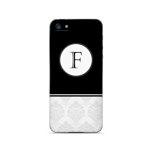 Black F w/ White Damask Design - Geeks Designer Line Monogram Series Hard Case for Apple iPhone 5/5S