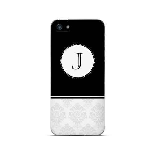 Black J w/ White Damask Design - Geeks Designer Line Monogram Series Hard Case for Apple iPhone 5/5S