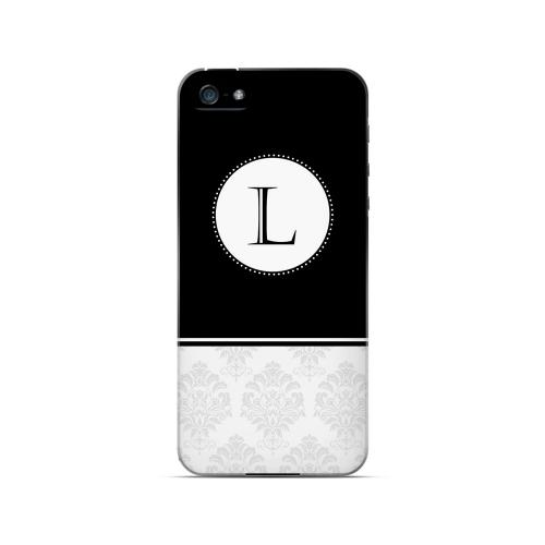 Black L w/ White Damask Design - Geeks Designer Line Monogram Series Hard Case for Apple iPhone 5/5S