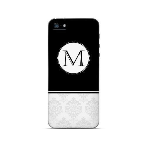 Black M w/ White Damask Design - Geeks Designer Line Monogram Series Hard Case for Apple iPhone 5/5S