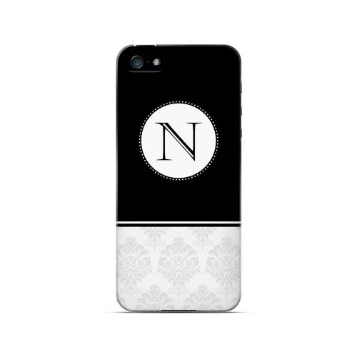 Black N w/ White Damask Design - Geeks Designer Line Monogram Series Hard Case for Apple iPhone 5/5S