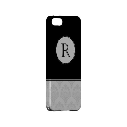 Black R w/ White Damask Design - Geeks Designer Line Monogram Series Hard Case for Apple iPhone 5/5S