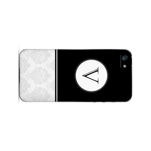Black V w/ White Damask Design - Geeks Designer Line Monogram Series Hard Case for Apple iPhone 5/5S