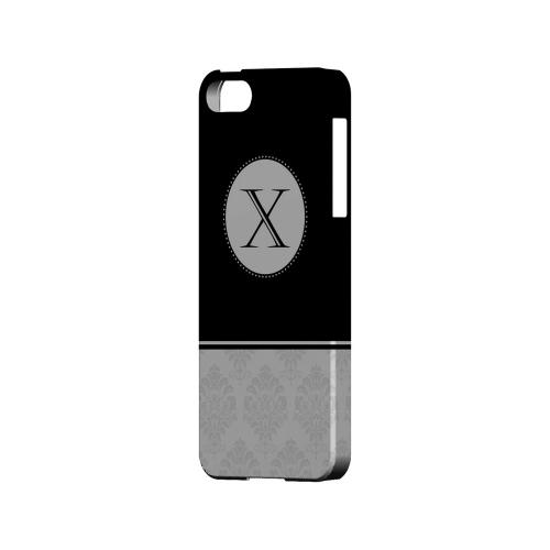 Black X w/ White Damask Design - Geeks Designer Line Monogram Series Hard Case for Apple iPhone 5/5S