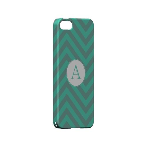 Seafoam Green A on Zig Zags - Geeks Designer Line Monogram Series Hard Case for Apple iPhone 5/5S