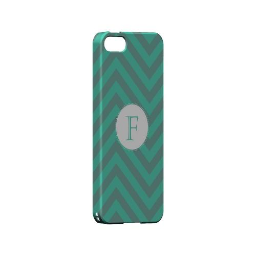 Seafoam Green F on Zig Zags - Geeks Designer Line Monogram Series Hard Case for Apple iPhone 5/5S