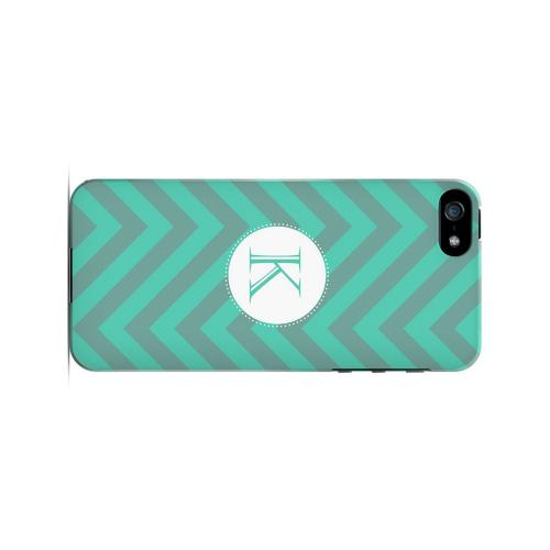 Seafoam Green K on Zig Zags - Geeks Designer Line Monogram Series Hard Case for Apple iPhone 5/5S