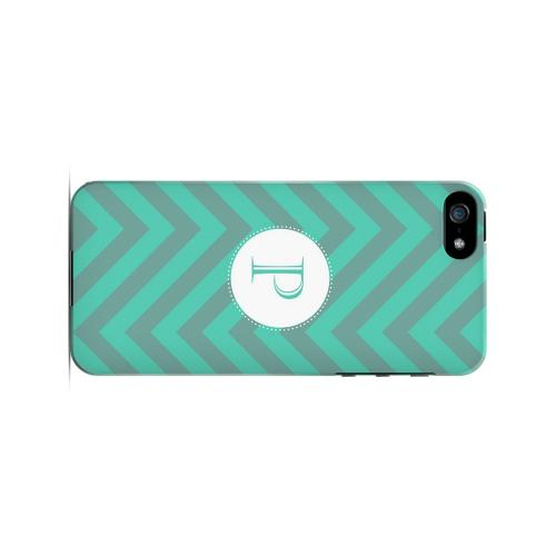 Seafoam Green P on Zig Zags - Geeks Designer Line Monogram Series Hard Case for Apple iPhone 5/5S