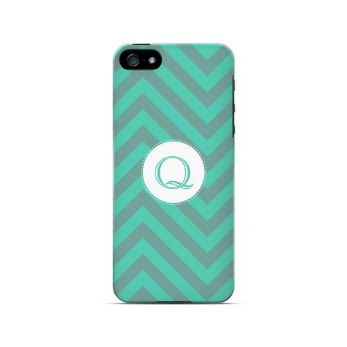 Seafoam Green Q on Zig Zags - Geeks Designer Line Monogram Series Hard Case for Apple iPhone 5/5S