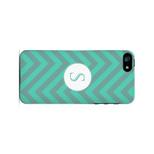 Seafoam Green S on Zig Zags - Geeks Designer Line Monogram Series Hard Case for Apple iPhone 5/5S