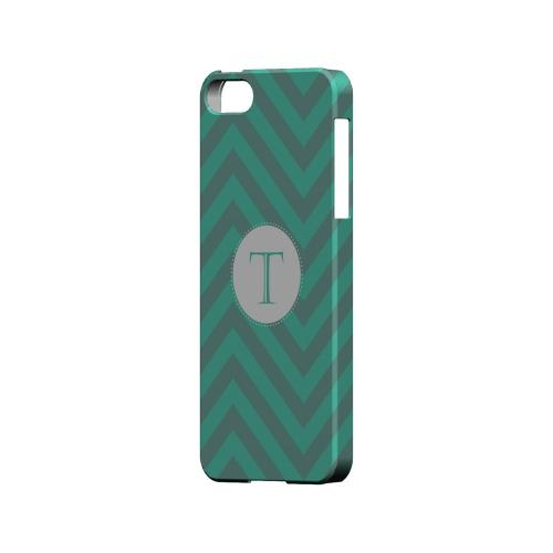 Seafoam Green T on Zig Zags - Geeks Designer Line Monogram Series Hard Case for Apple iPhone 5/5S