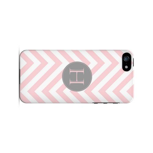 Gray Button H on Pale Pink Zig Zags - Geeks Designer Line Monogram Series Hard Case for Apple iPhone 5/5S