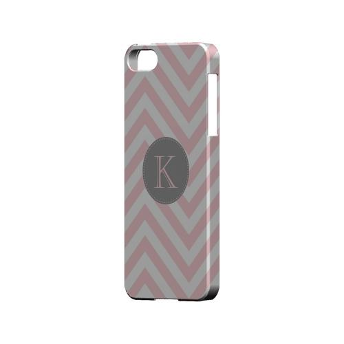 Gray Button K on Pale Pink Zig Zags - Geeks Designer Line Monogram Series Hard Case for Apple iPhone 5/5S