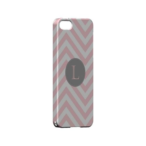 Gray Button L on Pale Pink Zig Zags - Geeks Designer Line Monogram Series Hard Case for Apple iPhone 5/5S