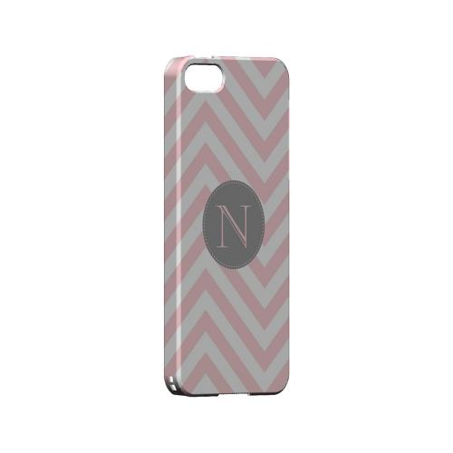 Gray Button N on Pale Pink Zig Zags - Geeks Designer Line Monogram Series Hard Case for Apple iPhone 5/5S