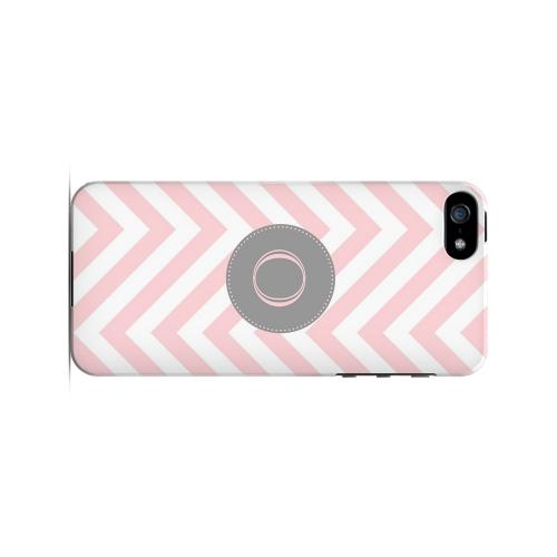 Gray Button O on Pale Pink Zig Zags - Geeks Designer Line Monogram Series Hard Case for Apple iPhone 5/5S