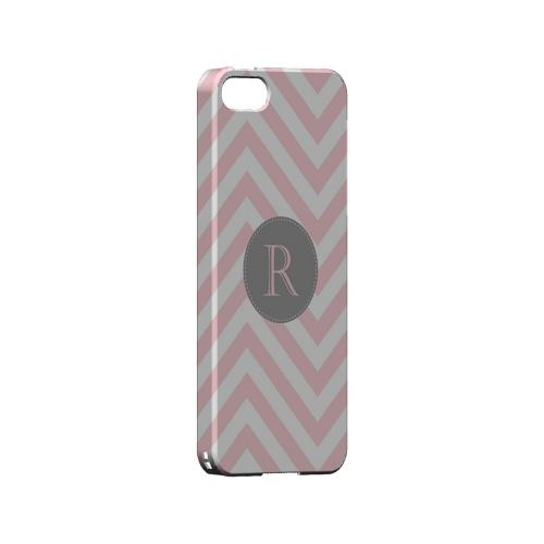 Gray Button R on Pale Pink Zig Zags - Geeks Designer Line Monogram Series Hard Case for Apple iPhone 5/5S