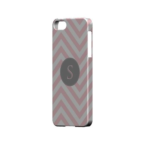 Gray Button S on Pale Pink Zig Zags - Geeks Designer Line Monogram Series Hard Case for Apple iPhone 5/5S