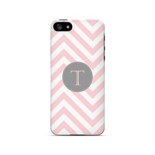 Gray Button T on Pale Pink Zig Zags - Geeks Designer Line Monogram Series Hard Case for Apple iPhone 5/5S